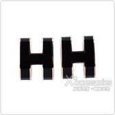 HERMES愛馬仕POP經典H字母立體簍空橢圓LOGO穿式耳環(黑x玫瑰金)