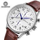 【美國熊】商務男士 真皮錶帶 簡約時尚 真三眼計時 日期窗顯示 腕錶 有保固 [WCH-64]