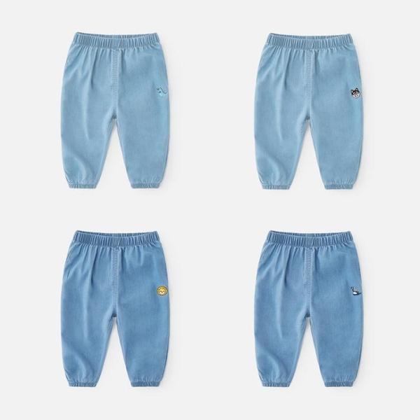 防蚊褲男童夏季薄款兒童冰絲寶寶童裝燈籠褲子小童夏裝天絲牛仔褲 快速出貨