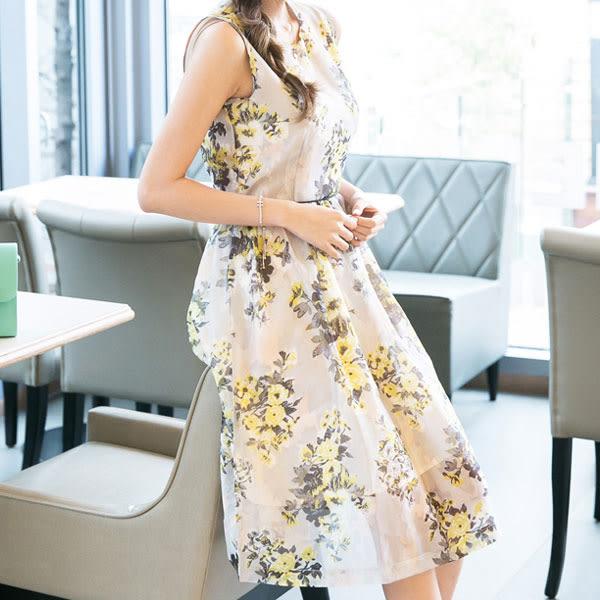 優雅修身顯瘦 歐根紗印花 輕透背心連身裙 D090a ◆ 韓妮小熊