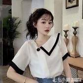 法式上衣~ 夏季2020新款韓版法式雪紡白色襯衫女設計感小眾襯衣洋氣短袖上衣