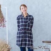 【Tiara Tiara】英倫學院風腰綁帶長版襯衫(藍/綠/灰)