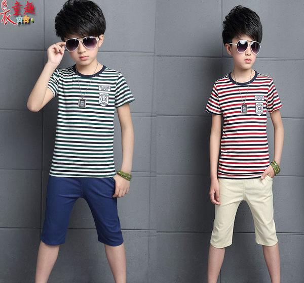 衣童趣 ♥韓版 男童 休閒兩件式套裝 條紋帥氣棉質T+休閒百搭短褲 外出男童套裝