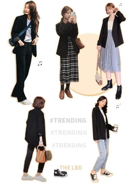 黑色小西裝外套女秋裝2019年新款韓版寬鬆百搭休閑上衣英倫風西服