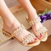 新款拖鞋女沙灘鞋海邊涼拖鞋女時尚中跟外穿一字拖水鑚涼鞋