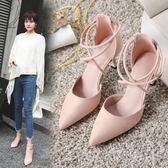 女鞋新款正韓百搭小清新春季單鞋中跟貓跟鞋伴娘細跟高跟鞋女