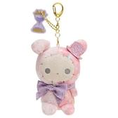 〔小禮堂〕憂傷馬戲團 絨毛玩偶娃娃吊飾《紫緞帶》掛飾.鑰匙圈 4974413-75865