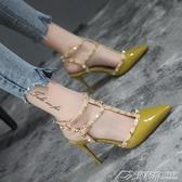 涼鞋韓版鉚釘尖頭鞋一字扣T型綁帶細跟高跟鞋潮 潮流時