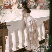 復古裙燈籠袖波點連身裙度假沙灘仙女長裙【時尚大衣櫥】