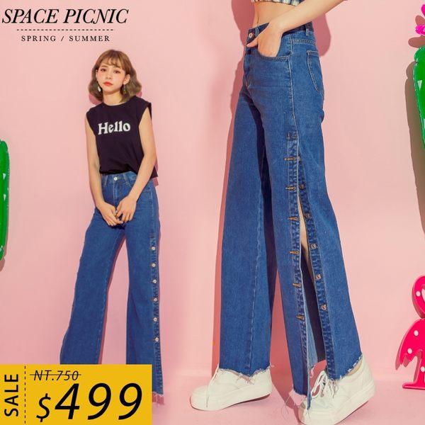 單寧 長褲 Space Picnic|側排釦單寧雙口袋寬褲(預購)【C18063071】