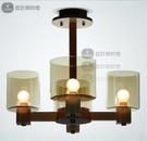 美術燈 北歐客廳簡約創意田園臥室燈具水晶琥珀玻璃原木吊燈 -不含光源