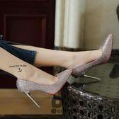 高跟鞋 10cm 亮片尖頭女春細跟中跟淺口性感銀色職業工作鞋單鞋~歐洲站~