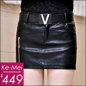 克妹Ke-Mei【ZT48916】歐美appare品牌側拉鍊V字腰帶高檔皮質褲裙