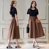 2021夏新款女韓版短袖收腰小心機假兩件套連衣裙中長款氣質裙 快速出貨