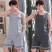 睡衣 男士睡衣夏季棉質套裝男式超薄款寬鬆加大碼無袖背心家居服可外穿