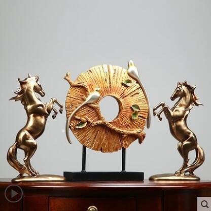 簡美現代創意馬擺件招財玄關客廳辦公室裝飾品擺設工藝品結婚禮物【兩個款式】