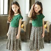 童裝韓版女童潮范魚尾裙中大童女孩半身裙套裝 nm874【Pink中大尺碼】