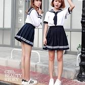 SISI【E8038】現貨蘿莉海軍學院風制服日本水手服上衣+百褶學生短裙套裝