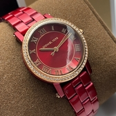 星晴錶業-MK邁克科爾斯女錶,編號MK3896,28mm紅色錶殼,紅色錶帶款