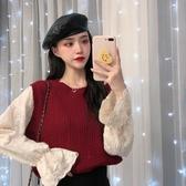 VK精品服飾 韓國風時尚撞色假兩件蕾絲拼接針織衫長袖上衣