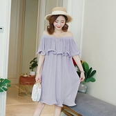 漂亮小媽咪 韓系 質感 洋裝 【D3737】 一字領 露肩 短袖 荷葉 雪紡 褶紋 韓 孕婦裝