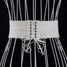 高檔白色鏤空時尚寬腰封腰帶女式連身裙裝飾流蘇編織腰帶配飾皮帶 全館免運