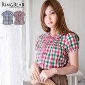 襯衫--田園輕恬荷葉邊領可拆綁帶壓摺格紋襯衫(藍.綠XL-5L)-H172眼圈熊中大尺碼