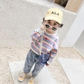 兒童長袖上衣 彩條T恤衫中小女兒童春秋新款寬鬆棉質寶寶洋氣長袖T 莎瓦迪卡