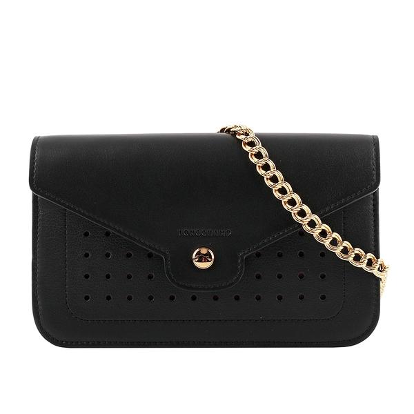 【LONGCHAMP】Mademoiselle Longchamp皮夾式鍊帶斜背包(黑色) L4559 883 001