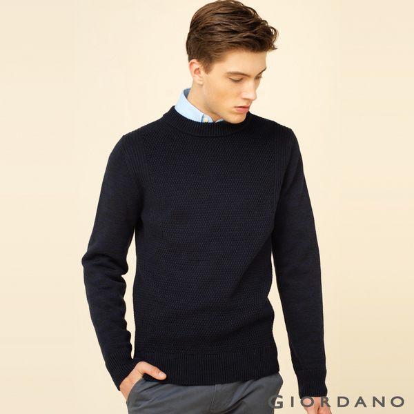 GIORDANO 男裝純棉素色半高領針織衫 - 06 雙絞海底藍