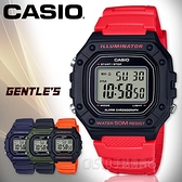 CASIO手錶專賣店 W-218H-4B 復古電子男錶 樹脂錶帶 黑X紅 防水50米 碼錶功能