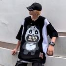 男生熊貓印花中袖T恤 2021情侶女個性卡通短袖T恤 中國風嘻哈潮牌體恤T恤 街頭潮流高街T恤