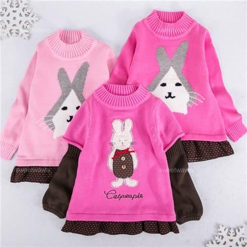 可愛兔兔拼接點點針織長版上衣(240862)★水娃娃時尚童裝★