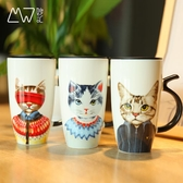 陶瓷馬克杯創意貓先生大容量卡通杯家用帶蓋辦公簡約創意水杯 居享優品