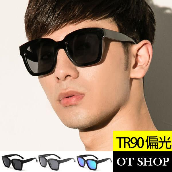 OT SHOP太陽眼鏡‧UV400偏光墾丁方框明星TR90高彈性配戴舒適亮黑霧黑黑反光藍反光N08