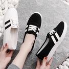 2021春季新款小白帆布女鞋一腳蹬懶人板鞋韓版百搭學生休閒布鞋女 韓國時尚 618