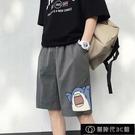 夏季短褲男寬鬆直筒潮牌百搭休閒卡通印花五分褲學生薄款運動【全館免運】