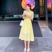 洋裝短袖裙子甜美S-XL新款淡奶黃色格子連身裙女中長款a字收腰顯瘦長裙H325-9095.胖胖唯依