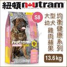 PetLand寵物樂園《紐頓NUTRAM》均衡健康系列 - S8 大型幼犬 雞肉蘋果 13.6kg / 狗飼料