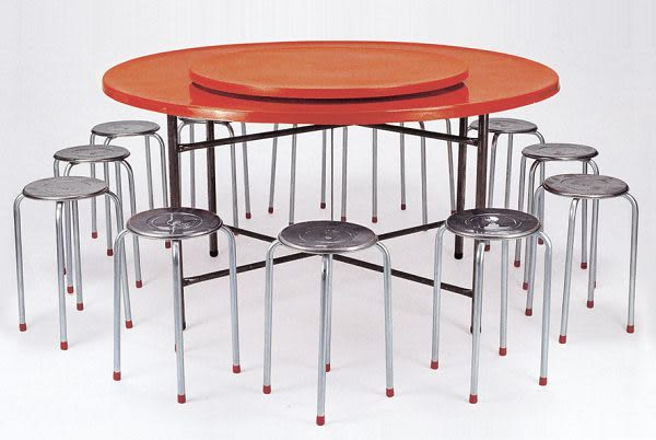 HY-770-10   FRP纖維圓餐桌面-四腳白鐵圓椅-不含餐桌-單台