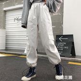 ins超火褲子女原宿bf風街頭嘻哈復古字母口袋寬鬆休閒束腳工裝褲『艾麗花園』
