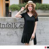 《DA4824-》質感純色V領口美背設計拼接魚尾裙襬造型洋裝.2色 OB嚴選
