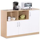 《百嘉美》H-白橡配白色三門六格廚房櫃 /收納櫃 置物櫃 電器櫃 櫥櫃