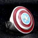 《 QBOX 》FASHION 飾品【R10BR8-340】精緻個性美國隊長盾牌鑄造鈦鋼戒指/戒環