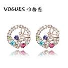 小花天使造型鑲鑽耳環(3色)    情人節禮物 【Vogues唯格思】B020