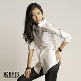 【BTIS】背面多扣 七分袖襯衫  / 白色