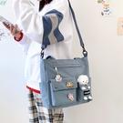 ins簡約休閒帆布包包女2021夏新款潮大容量側背斜背包學生托特包 黛尼時尚精品