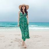 洋裝-細肩帶夏季雪紡印花V領女連身裙73pu16【巴黎精品】