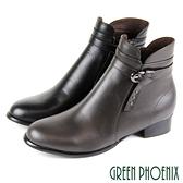 U15-20068 女款全真皮粗跟短靴 扭結金屬皮扣繞踝全真皮粗跟短靴/馬靴【GREEN PHOENIX】