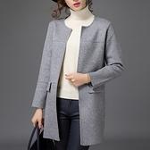 長版針織外套-羊毛長袖圓領純色寬鬆中長款女毛衣外套5色72ak18【巴黎精品】